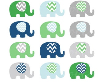 ON SALE Elephant Clip Art - Baby Elephant - Style CL1503 - Chevron Navy Green Grey - Illustration - Commecial