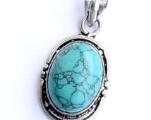TURQUOISE PENDANT, tourquoise pendant, Turquoise Silver, real jewelry, gemstone jewelry, gift, rough tourquoise silver, tourquoise jewelry
