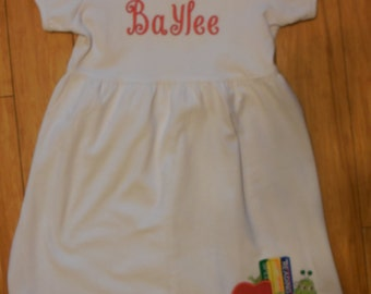 Back to School Dress with Bookworm and Name