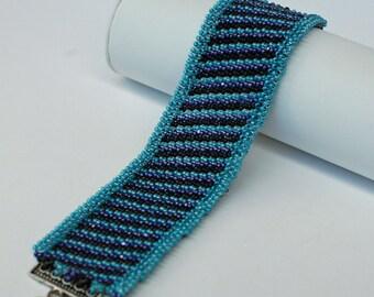 Beadwoven Blue Stripes Seed Bead Bracelet , Beadwoven Cuff Bracelet , Beadwork Wide Seed Bead Bracelet