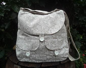 Floral canvas messenger bag,buttoned big bag