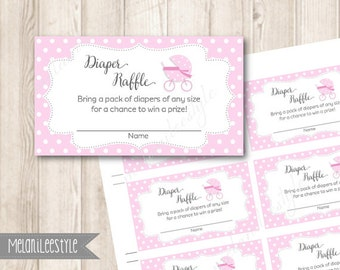 Pink Diaper Raffle Ticket, Baby Shower Game Party Printables, Light Pink Baby Stroller, Baby Carriage, INSTANT DOWNLOAD