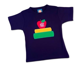 Boy's School Shirt with Book, Apple and Monogram