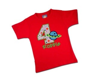 Boy Planet Space Birthday Shirt with Embroidered Name