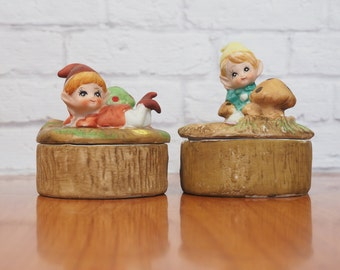 PAIR of Homco Elf or Pixie Porcelain Trinket Boxes / Collectible Figurines