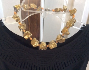 Golden rock beads choker