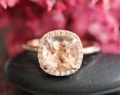 Natural Morganite Engagement Ring 14k Rose Gold 8x8mm Cushion Peach Apricot Morganite Ring Halo Diamond Ring (Bridal Set Available)