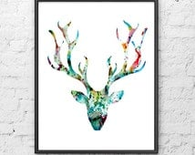 Deer art print, Watercolor painting blue deer, Watercolor art print, Watercolor animal painting - 31
