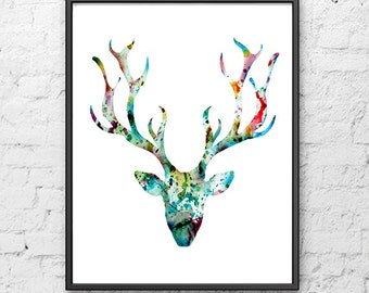 Deer art print, watercolor painting deer head, deer painting, modern wall art, minimalist decor, scandinavian art - 31