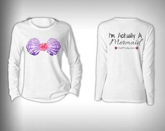Mermaid Shirt - Im Actually a Mermaid T-Shirt Mermaid Streetwear Fishing T Shirt Performance Solar