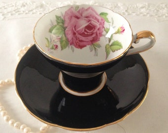 Black Aynsely Corset Style Tea Cup and Saucer Cabbage Rose