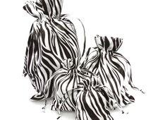 Zebra Print White Black Satin Pouch Gift Bags, 12-pack