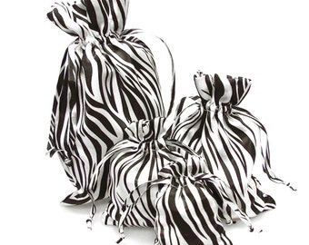 Zebra Print White Black Satin Pouch Gift Bags, 12-Piece