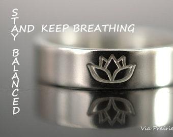 Zen ring, Lotus ring, Lotus flower ring, Lotus Jewelry, Yoga ring, Yogi gift, Reminder ring, Unisex yoga ring, THICK 925 Sterling silver