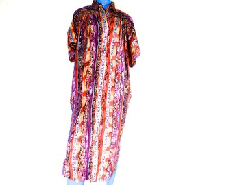Boxy Tribal Dress Vintage Cocoon Loose Gown