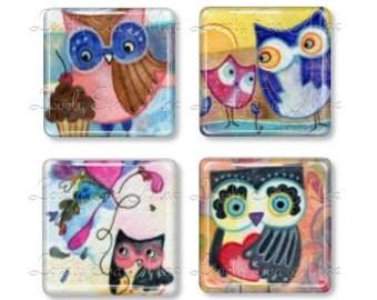 Set of 4, Lauren Alexander, Glass Magnets, Strong Magnets, Fridge Magnets, Owl Magnets, Watercolor, Artwork, Owl Lover, Owl Gift