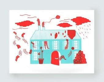 House. illustration A3 silk-screened