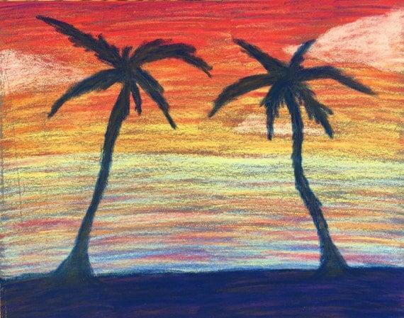 Palm Tree Sunset- 8x10 pastel drawing