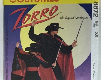 McCall's 8872 Childs' Zorro Costume Pattern size 5-6 cut