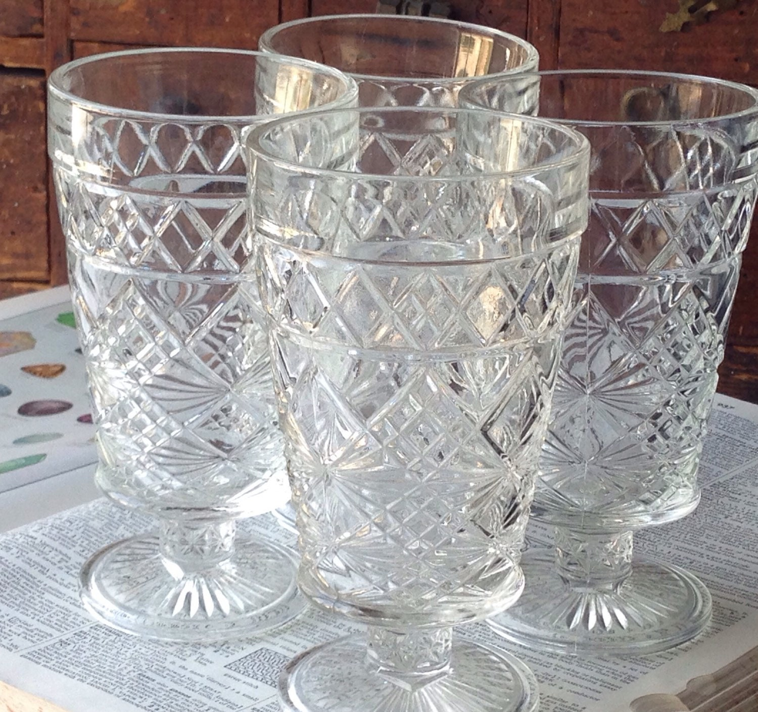 Pressed Glass Goblets Set Of 4 Cape Cod By By LoftyMixVintage