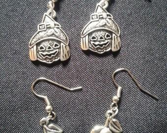 Halloween earrings, Smiling Scarecrow or Smiling Pumpkin