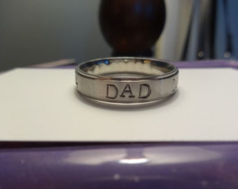 6mm Stainless Steel Hand Stamped Dad ring~ Choose from 7 bands! Sizes 3-16