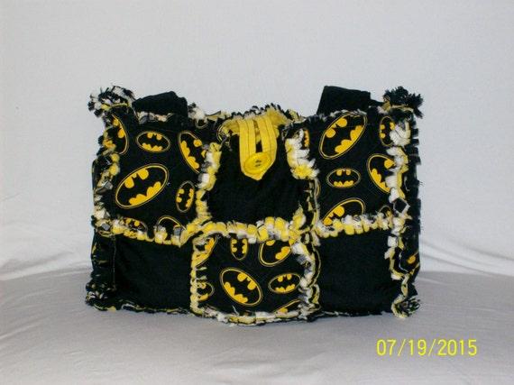 Batman Yellow Black Cute Rag Quilt Diaper Bag Tote Purse