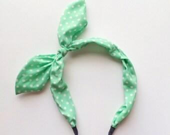 CLEARANCE - Seaform Green White Dots KoKo Bunny Ears Headband - Fabric headband - Pinup headband - Bunny - White polka dots - Rockabilly