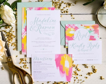 Madaline - Ikat Pattern Wedding Invitation Suite
