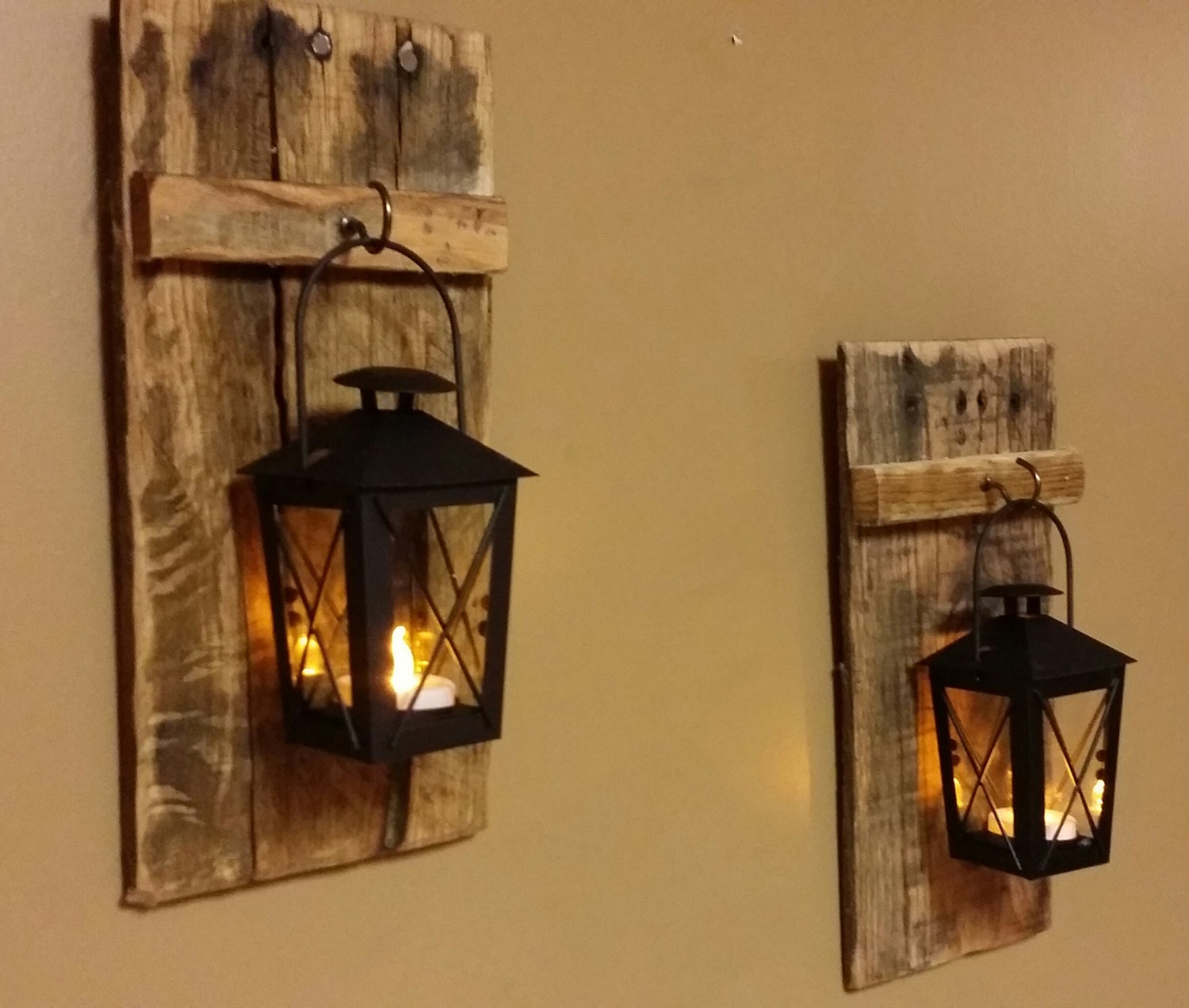 Rustic wood candle holder with lantern 12 x 5 zoom amipublicfo Images