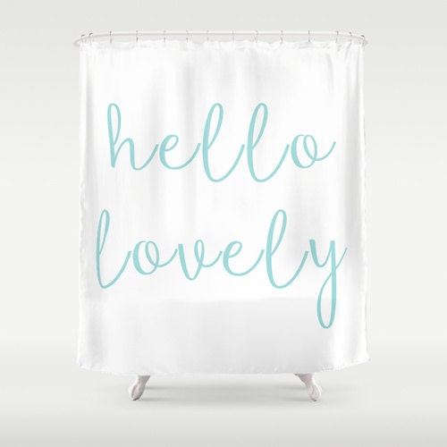 hello lovely shower curtain aqua shower curtain girls
