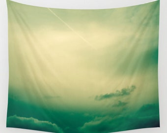 SALE wall tapestry, large size wall art, wall decor, photo tapestry, modern tapestry, wall hanging, green tapestry, clouds sky tapestry