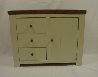 Chunky rustic reclaimed timber sideboard painted