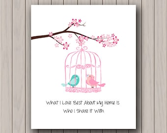 Anniversary Gift -  First Anniversary - Cute Lovebirds Art Print