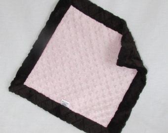 Security Blanket/Lovey - Brown and Pink Security Blanket - Toddler Security Blanket - Mini Blanket