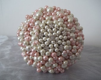 Large Romantic Pink and Ivory Pearl Bouquet.