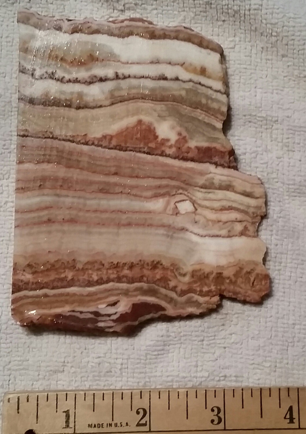Yellow Onyx Slab For Lapidary : Red banded onyx slab lapidary art painting or