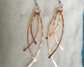 Hammered Copper Dangly Earrings