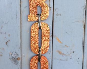 Halloween BOO Door Hanger - Orange Glitter BOO - Halloween Door Decoration - Halloween Decorations  - Halloween wreath