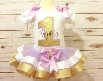 Gold and purple birthday outfit ribbon tutu glitter applique gold sparkle personalized shirt