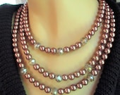 Chocolate Pearl and Crystal  Necklace and Earring Set
