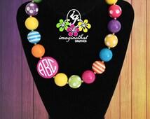 Personalized Monogram Chunky Bubblegum Bead Necklace