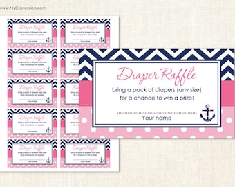 Navy Chevron & Pink Polka Dots Diaper Raffle Tickets - Digital Printable File - Instant Download
