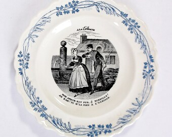 Collector plate made in France, blue and white transferware, 6 1/2""