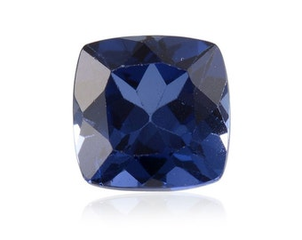 Blue Sapphire Synthetic Lab Created Loose Gemstone Cushion Cut 1A Quality 8mm TGW 2.95 cts.