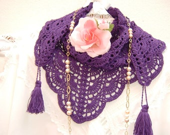 Ethno-chic style lace scarf handmade purple crochet cotton with tassels. Crochet fashion donna summer. Ethnic shawl