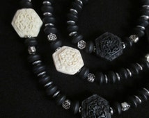 White and Black Hexagon Flower Cinnabar Beads, Sea Glass, Pewter Beads, Long Necklace, Black Cinnabar, White Cinnabar Pewter Necklace
