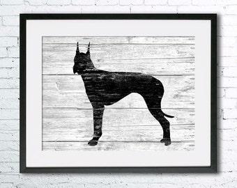 Great Dane 2 art illustration print, Great Dane painting ,dog illustration, Wall art, Rustic Wood art, Animal art, dog art, art print
