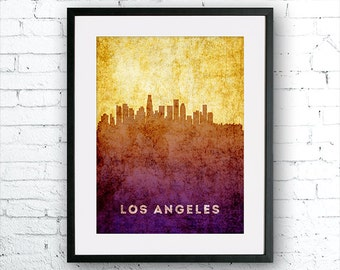Los Angeles illustration Art Print, Los Angeles painting, United States  California art, poster, cityscape, city art, urban,city wall art