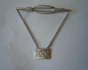 Incredibly Cool 1930s Silver Tie Bar with Art Deco Pendant